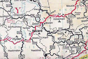 Map used by Cohen to navigate Kentucky, 1959.